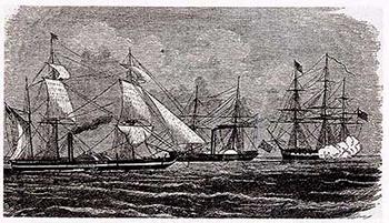 軍艦外交で開国を迫る黒船4隻