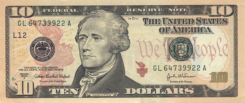 10ドル紙幣を飾るハミルトンの肖像画