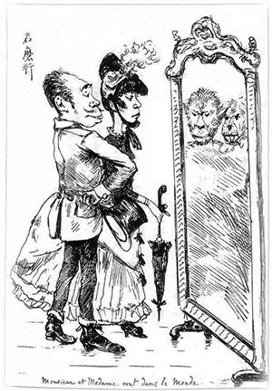 紳士と淑女が社交界にお目見え(ビゴー画)