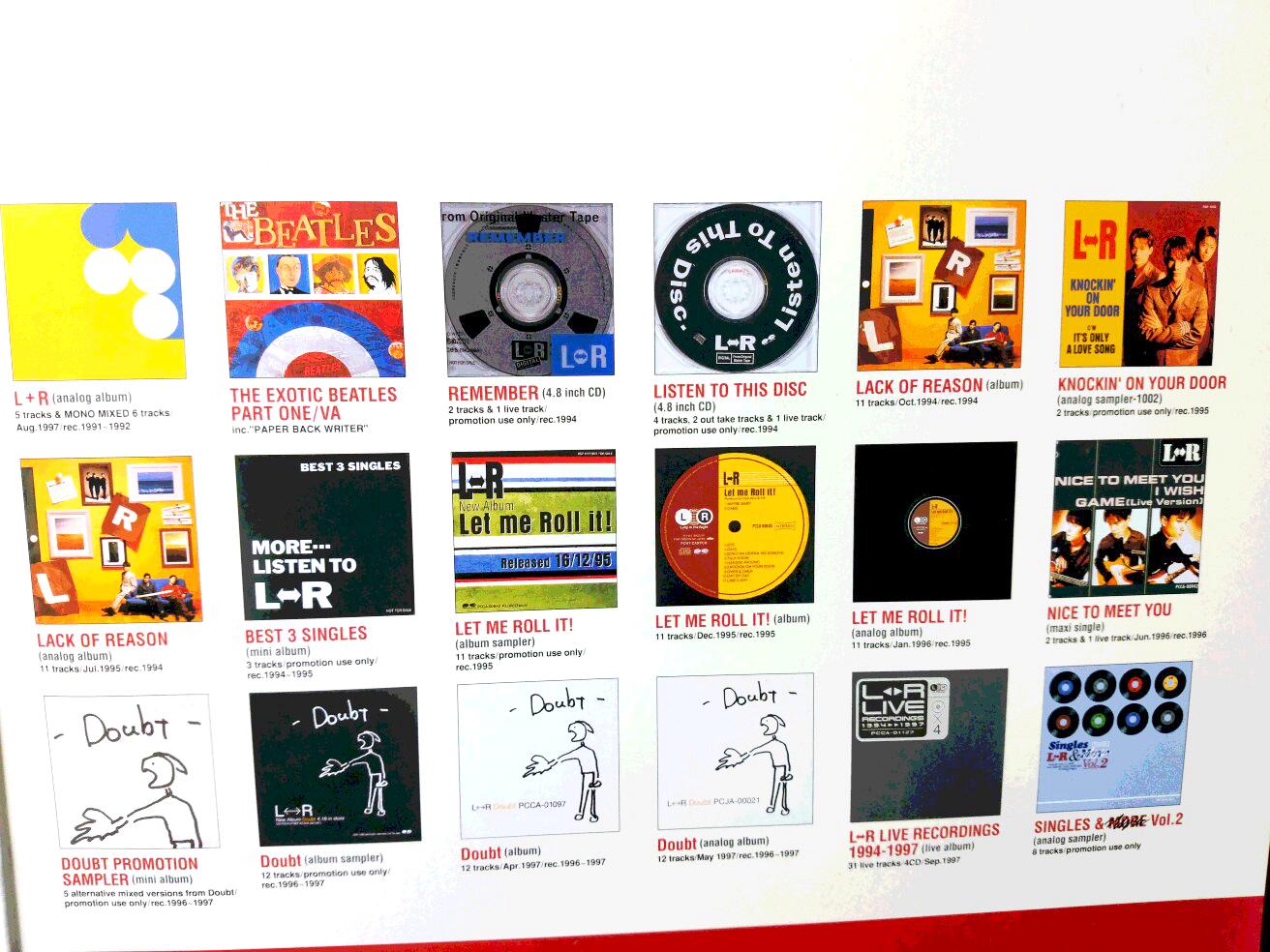 L⇔R(エルアール)のアルバム・ジャケット。LとRにちなんだアルバム・タイトルは気が利いている。2000年代に「さくら」な和風J-POPが氾濫する以前は、洋楽的なるものに近接することが「クール」の基準だった
